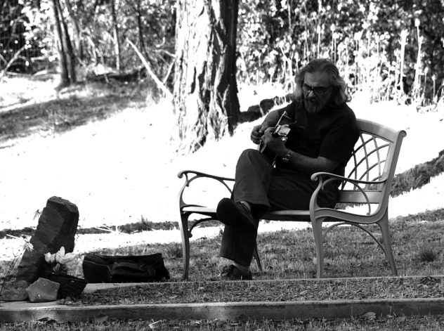 D. composing in the Little Shasta Cemetery, 2012