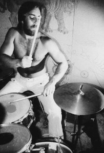 P drumming in his LA bedroom, 1977